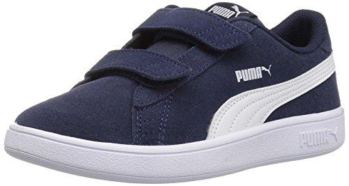 PUMA Smash v2 Suede Preschool Sneakers (Peacoat/Puma White)(8 M US Toddler)