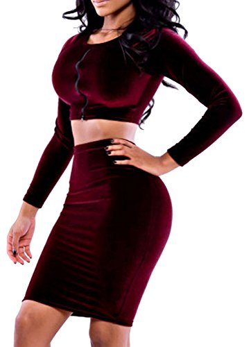 Price comparison product image Ubasics Women's High Waist Hollow Out Bodycon Event Sexy Skirt And Tops Purple L