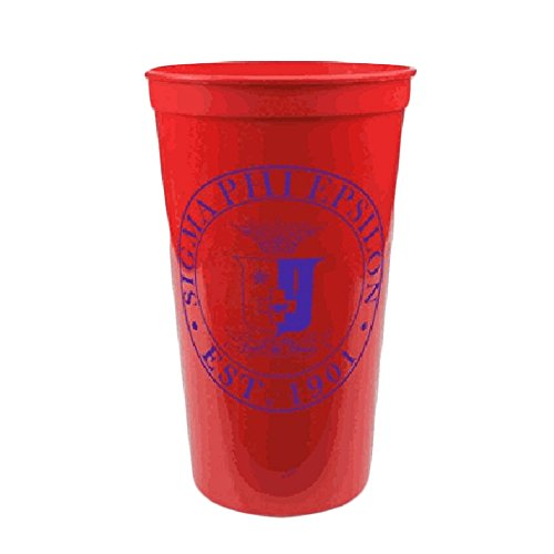 Greekgear Sigma Phi Epsilon Red Plastic Stadium Cups, Set of 6 ? Fraternity Name Printed on Large Cup, 32-Ounce Size