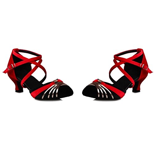SJJH Sandals with Kitten Heel and Pointed Toe Ballet Sandals with Large Black LCCc94jQm