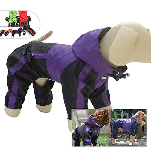 Jacket Coat Pet Clothes - Lovelonglong Dog Hooded Raincoat, Small Dog Rain Jacket Poncho Waterproof Clothes with Hood Breathable 4 Feet Four Legs Rain Coats for Small Medium Large Pet Dogs Purple XL