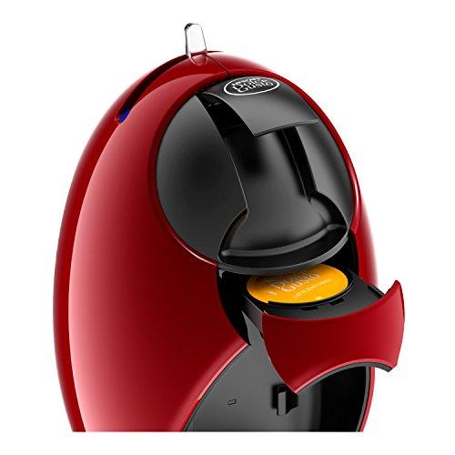 DeLonghi EDG 250.R NESCAFÉ Dolce Gusto Jovia Kapsel Kaffeemaschine für heiße und kalte Getränke, 15 bar Pumpendruck für samtige Crema, Manuelle Wasserdosierung, 0,8l Wassertank, abnehmbar, Rot