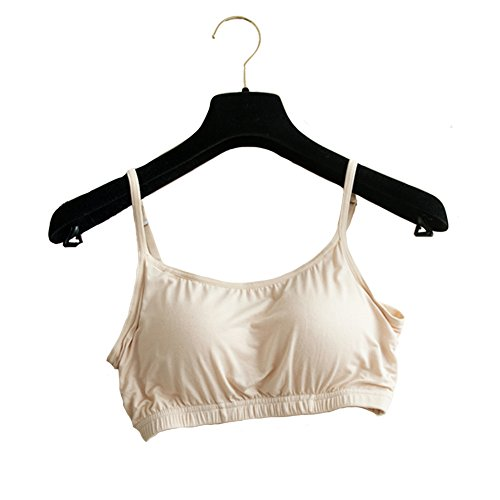 THUNDERSTAR Womens Modal Crop Tank Tops Active Strap Camisole with Built-in Bra SP Beige XL Fit 34DD 36C 38A 38B 38C 40A