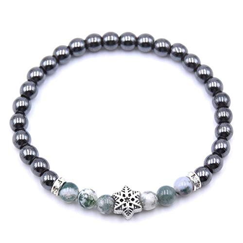 (Gabcus 8MM Natural Stone Indian Natural Lava Picture Tiger Eye Snowflake Top Quality Handmade Round Beads Stretch Bracelet 19cm 1Pcs - (Metal Color: 3, Length: 19cm))