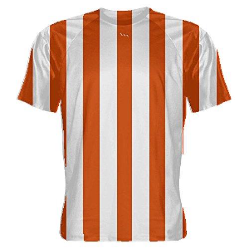 LightningWear Orange and White Striped Soccer Jerseys - Soccer Shirts - Extra Large