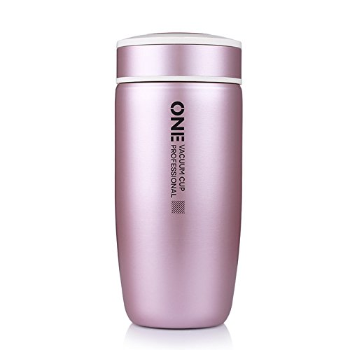 Thermos Flask,350ML Mini Portable Travel Mug, Insulated Stainless Steel Vacuum Flask Water Bottle, Elegant Iphone Metal Color Design (Rose)