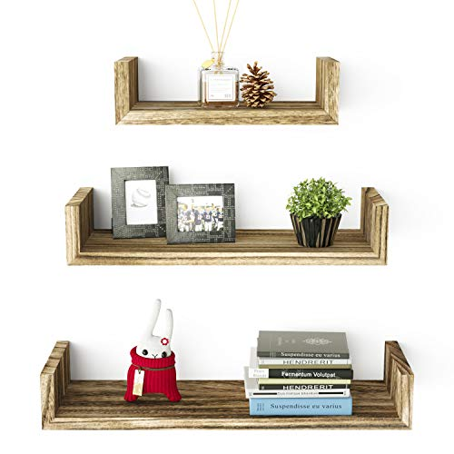 (RooLee Floating U Shelves Wall Mounted, Solid Wood Wall Shelves Set of 3)