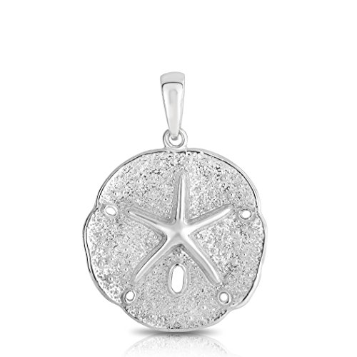"Sterling Silver Solid Two Sides Large Size Sand Dollar Starfish Charm And Necklace. (18"" Inches)"