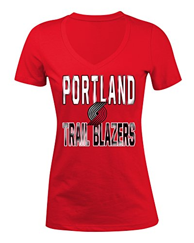 NBA Portland Trail Blazers Women's Baby Short sleeve V Neck Tee, Red, - Portland Off 5th