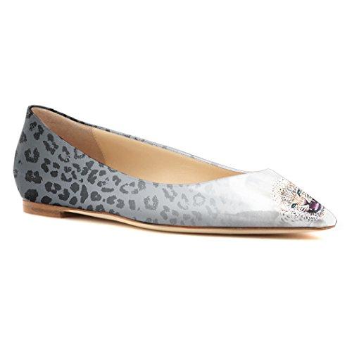 Printing YCG Womens Black Leopard Flat Ballet Comfort Shoes Pleather EqxwBx7Z4