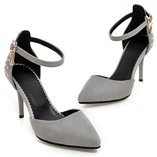 COOLCEPT Mujer Moda Correa de Tobillo Sandalias Tacon Delgado Alto Cerrado Zapatos Tamano Gris