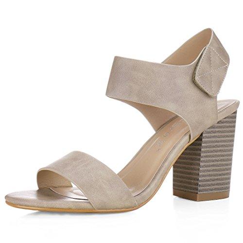 Allegra K Womens Hook and Loop Ankle Strap Sandal Dark Beige VigUXt112K