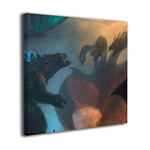 Little Monster Godzilla 2 King of The Monsters 2019 Stretched Printing On Canvas Wall Decor Funny Art for Child Bedroom 30x30in -