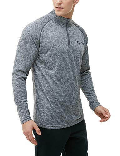 (TSLA Men's 1/4 Zip HyperDri Cool Dry Active Sporty Shirt Top, Quick Dri(mkz02) - Space Dye Grey, Large)