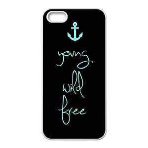 wugdiy Custom Case for iPhone 5,5S with Personalized Design Young, wild & free