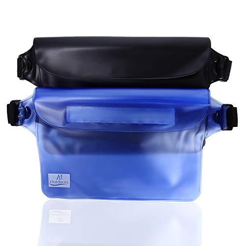 ANJ Outdoors 3-Zipper Design, the Most Durable 2PK Waterproof Pouch / Waterproof Bag | Lightweight & Adjustable Waist Strap | Ideal Waterproof Phone Case / Waterproof Wallet for Boating and Fishing