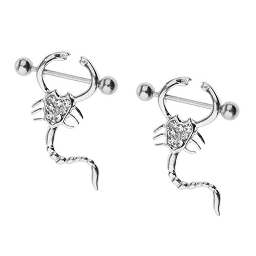 (Baoblaze 2pcs Nipple Ring Bars Scorpion Rhinestone body Jewelry 16g Body Jewelry)