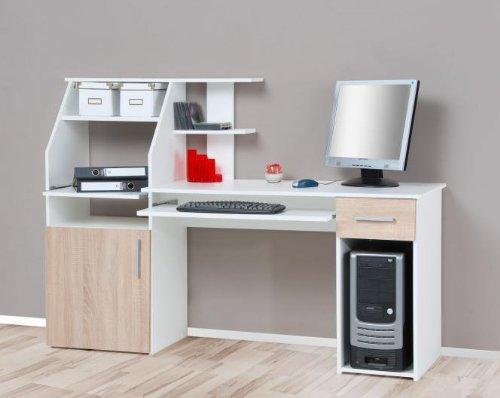 Escritorio blanco de roble de sonoma pared escritorio PC - Mesa de ...