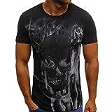 Winsummer Men's Vampire Skulls T-Shirt Short Sleeve Casual Print Graphic Tee Summer Man Tshirts Tops Black