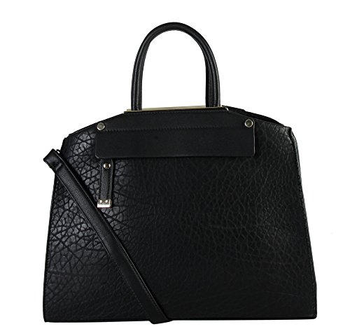 diophy-womens-faux-leather-divided-compartments-zipper-closure-tote-handbag-os-2985-black