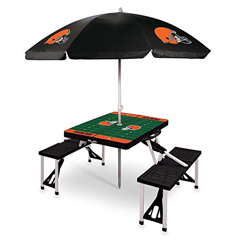 NFL Cleveland Browns Picnic Table Sport with Umbrella Digital Print, One Size, Black by PICNIC TIME