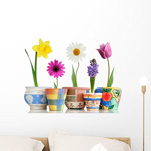 Wallmonkeys Colorful Spring Flowers in Fun Ceramic Containers Wall Decal Peel and Stick Graphic WM65220 (24 in W x 19 in H)