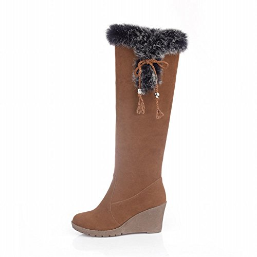 Carol Shoes Women's Casual Concise Wedges Bows Platform Long Snow Boots Brown SvHDsjP