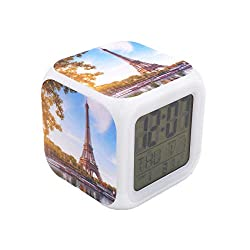 "BoWay 3""Desk & Shelf Clock Paris Eiffel Tower Digital Alarm Clock with Led Lights Blue Table Clock for Kids Teenagers Adults Home/Office Decor"