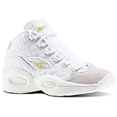 3553c2be835b  allen iverson shoes. Reebok Question Mid Quilted  White Party  Men s Shoes  White Chalk Gold Metallic