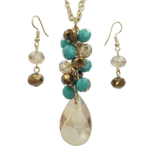 Gypsy Jewels Long Simple Cluster Chandelier Glass Bead Drop Ring Necklace & Earrings Set (Brown & Blue) ()