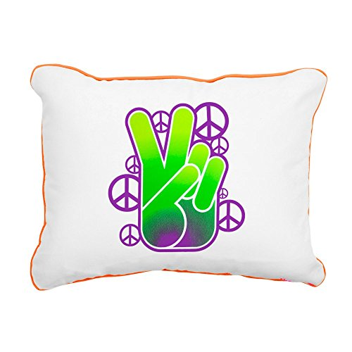 (Rectangular Canvas Throw Pillow Orange Peace Symbol Sign Neon Hand)