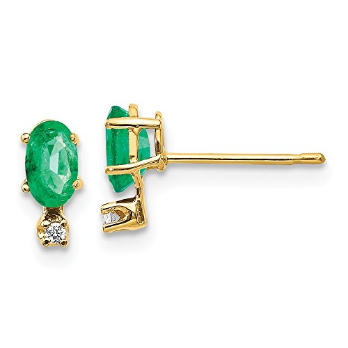 (14k Yellow Gold Diamond Green Emerald Birthstone Post Stud Earrings Ball Button May Fine Jewelry Gifts For Women For)