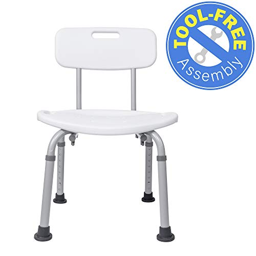 Medical Tool-Free Assembly Spa Bathtub Adjustable Shower Chair Seat Bench with Removable ()