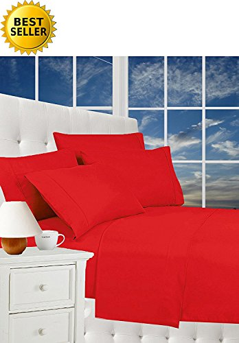CELINE LINEN Luxurious Bed Sheets Set on Amazon 1800 Thread Count Egyptian Quality Wrinkle Free 4-Piece Sheet Set with Deep Pockets 100% Hypoallergenic, Queen Red (Red Sheets Queen)