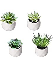 WOWENWO Artificial Succulents Plants Set of 4 Mini Fake Faux Succulent with White Ceramic Planter Pots, Perfect for for DIY Home Office Decoraction