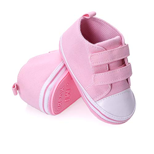 (NOVCO Unisex Baby Sneakers Toddler Boys Girls Anti-Slip First Walkers Canvas Shoes 0-24 Months (12-18 Months,Pink 02))