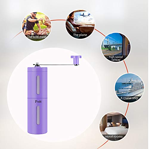 Poit Portable Manual Spice Herb Grinder Coffee Grinder for Beans, Pepper and Spice Herb, Purple