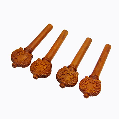 Exquisite carved boxwood acoustic violin tuning pegs set