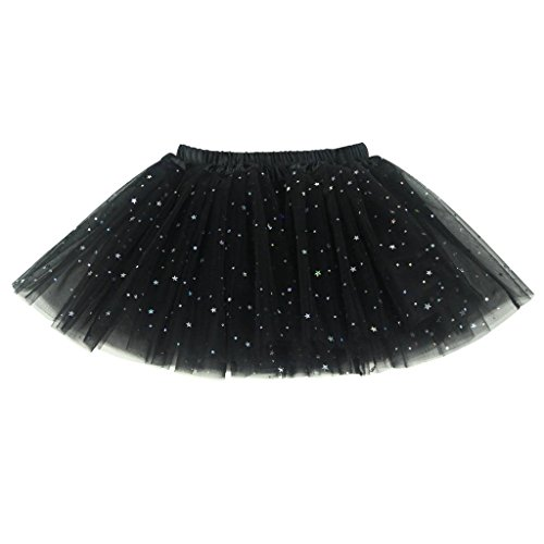 Buenos Ninos Girl's 3 Layers Sequin Ballet Dance Skirt with Sparkling Stars Dress-up Tutu Black]()