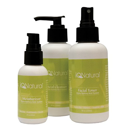 Organic Skin Care Regimen Kit - Glycolic Acid Exfoliate Treatment Alpha Hydroxy Acid (AHA) - Moisturizer Cleanser Toner - Minimize Pores & Reduce Breakouts, Appearance of Aging & Scars