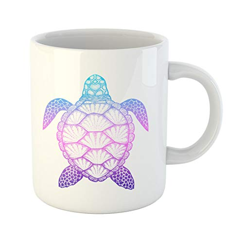 Semtomn Funny Coffee Mug Animal Sea Turtle in Line Top View for Coloring 11 Oz Ceramic Coffee Mugs Tea Cup Best Gift Or Souvenir ()