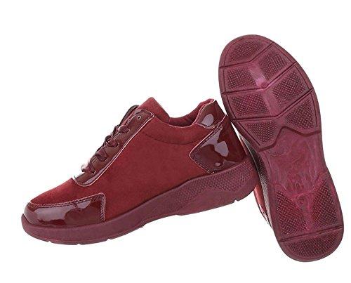 Damen Schuhe Freizeitschuhe Sneakers Weinrot