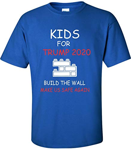 Kids for Trump 2020 Build The Wall Keep Us Safe T-Shirt (Youth Medium, Royal Blue)