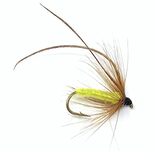 Feeder Creek Fly Fishing Trout Flies - Caddis Mayfly Yellow Wet Fly Soft Hackle - Three Size Assorted Variety Size 14,16,18 (4 of Each Size) for Trout and Other Large Freshwater Fish - Hand Tied - Fishing Soft Hackle Flies