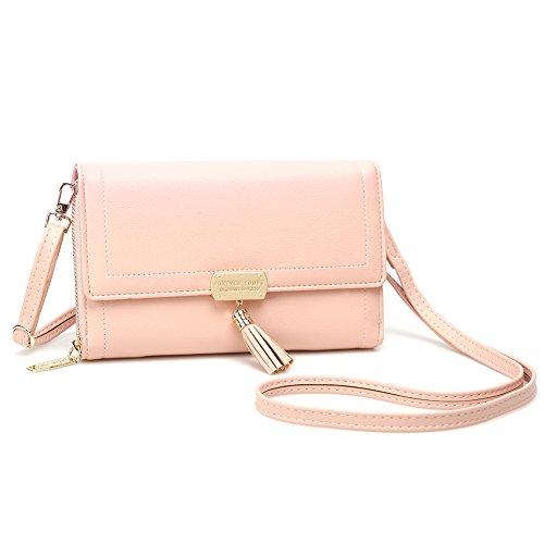 Crossbody Wallet Women's Purse Clutch Handbag Shoulder Evening Bag with Tassel and Removable Strap (Large, Pink)