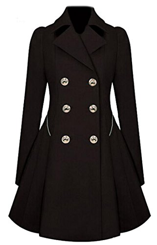 Long Black Wool Coat - 5