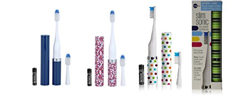 Violife Slim Portable + Sonic Toothbrush Set, Designs As Pictured, 4 Count, Ocean, Candy Stripe, Spearmint, Mosaic