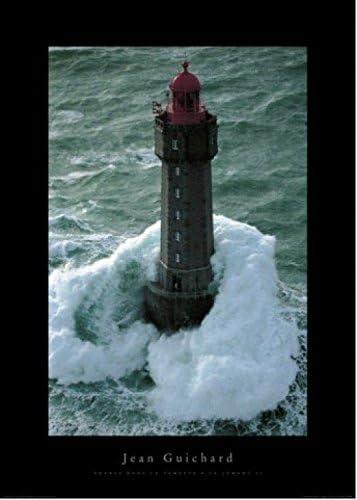 158x53cm Leuchttürme Sturm Nacht See Meer Mondlicht Poster Kunstdruck #51406