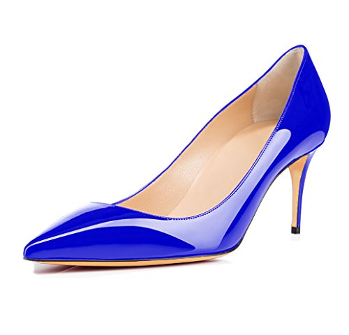 Blue 65MM Pumps Womens High Court Shoes Heels Or Stiletto Leather Pointed On Toe uBeauty Suede Patent Slip Work aTwBw