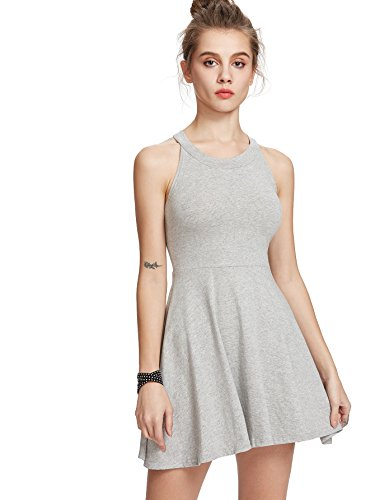 Grey Women's Floerns Sleeveless Casual Dress Line A Halter Neck 6gwgxdq8
